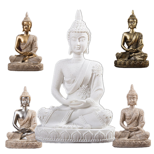 VILEAD 11cm Nature Sandstone India Buddha Statue Fengshui Sitting Buddha Sculpture Figurines Vintage Home Decor Use for Aquarium 2