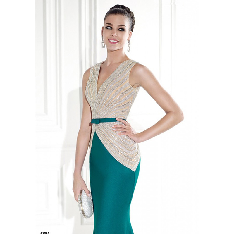 Emerald Green Evening Dress 92585 Elegant Long Mermaid Gowns Beading V Neck Sleeveless Women Formal To Party In Dresses From Weddings
