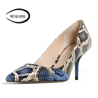 WEIQIAONA Occident vogue sexy snake pattern high heel single shoes Vintage women pumps Dress shoes Party shoes real picture