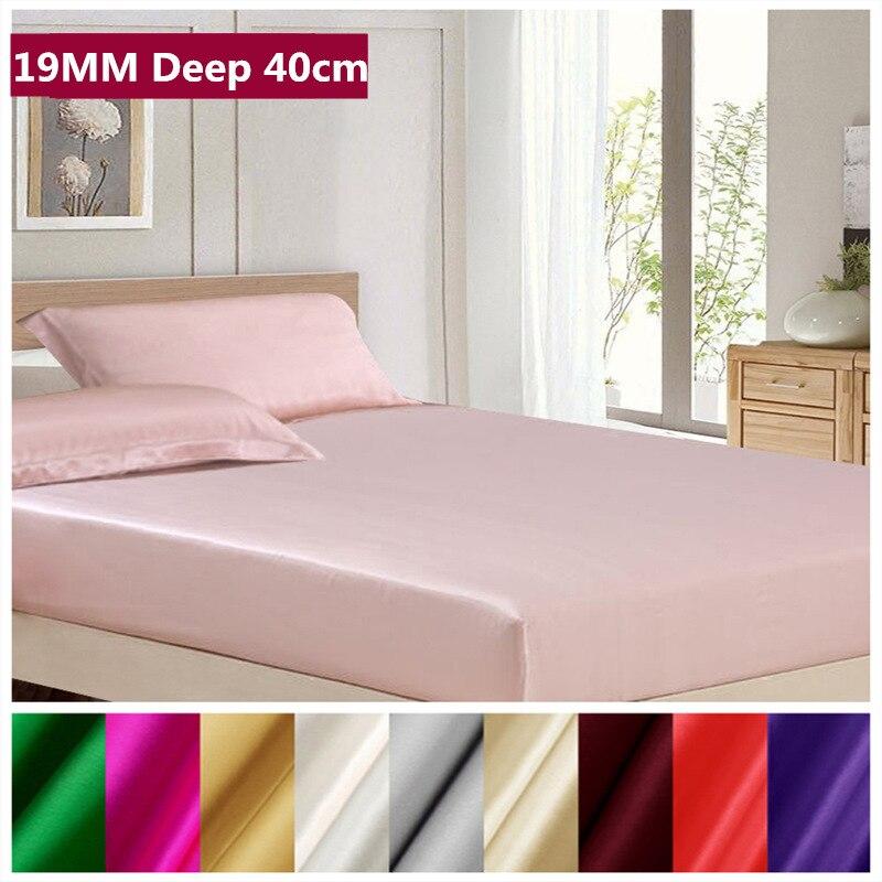 Foaie montată din mătase Adâncime 40cm 19MM 100% Mulberry Foaie moale pentru un somn bun Culoare solidă Multicolor Multi Dimensiuni ls0114-19002