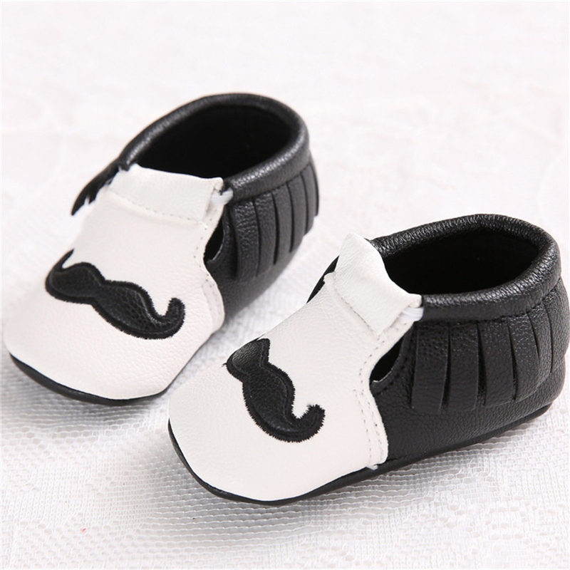 White/Black Cute PU Leather Baby Moccasins Tassel Mustache Shoes First Walkers Anti-slip Footwear Newborn Toddler Soft Shoes