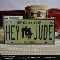 NORWEGIAN WOOD HEY JUDE Vintage License Plate Retro Iron Painting Poster Wall Sticker Tin Sign Bar