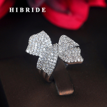 HIBRIDE Beauty Flower Design Cubic Zirocnia Women Open Adjustable Engagement Ring Anillos Mujer For Party Show R-201 hibride beauty leaf shape clear cubic zirconia white gold color women open adjustable finger ring anillos for party show r 197