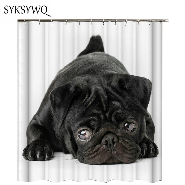 Bathroom Decor Shower Curtain Dog 2018 Cortina De Ducha New Arrival Black English Bulldog Bath