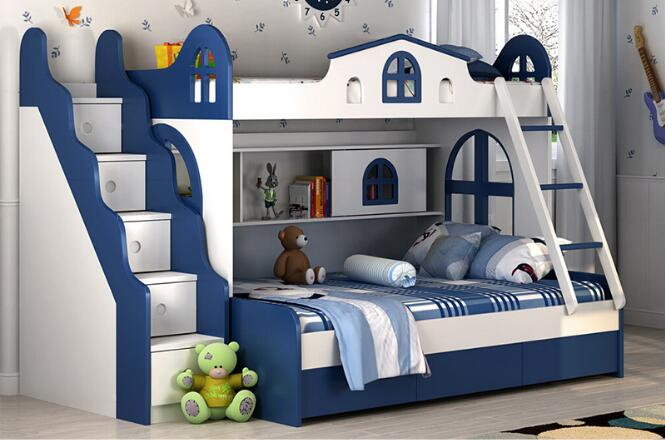 Children Bunk Bed With Guardrail Environmental Protection Bed Boys