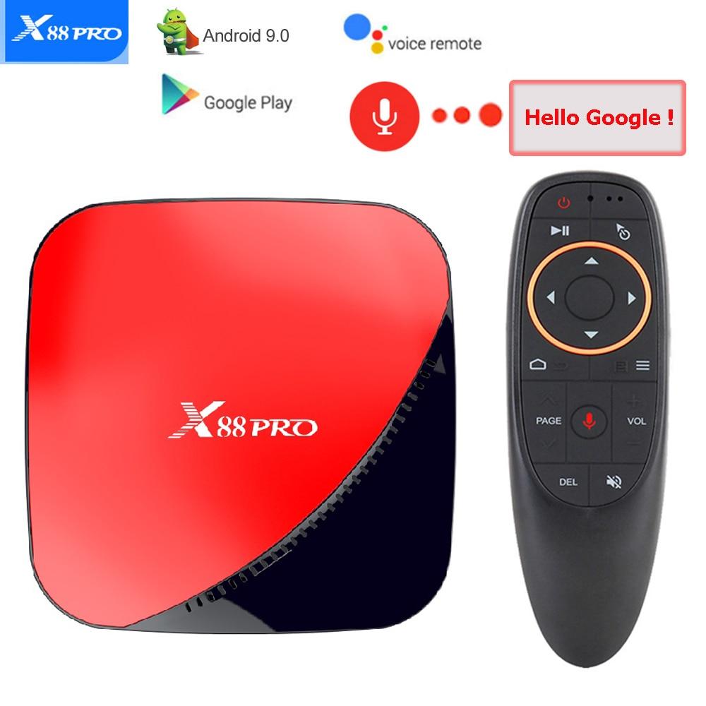 RK3318 X88 PRO Caixa de TV Android 9.0 Rockchip 2.4G & G Wifi 2 5 GB GB 32 4GB 4K HDR Settop Box USB 3.0 Controle De Voz Caixa de Tv Android
