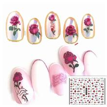 Newest rose design 3d nail sticker Japan style back glue DIY decorations for wraps