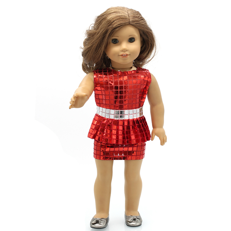 a515339f9c2a Girl Doll Clothes Red Silver Sequined Short Dress for 16 18 inch Dolls Best  Gift Shiny Dolls Accessories X 12-in Dolls Accessories from Toys & Hobbies  on ...