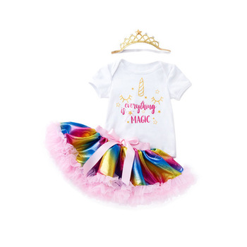 Newborn Fashion Summer Girl Clothes Sets Birthday Cotton Bodysuit+Tutu Dress+Sock+Headwear 4Pcs Girls Clothing Suit Kids Outfits