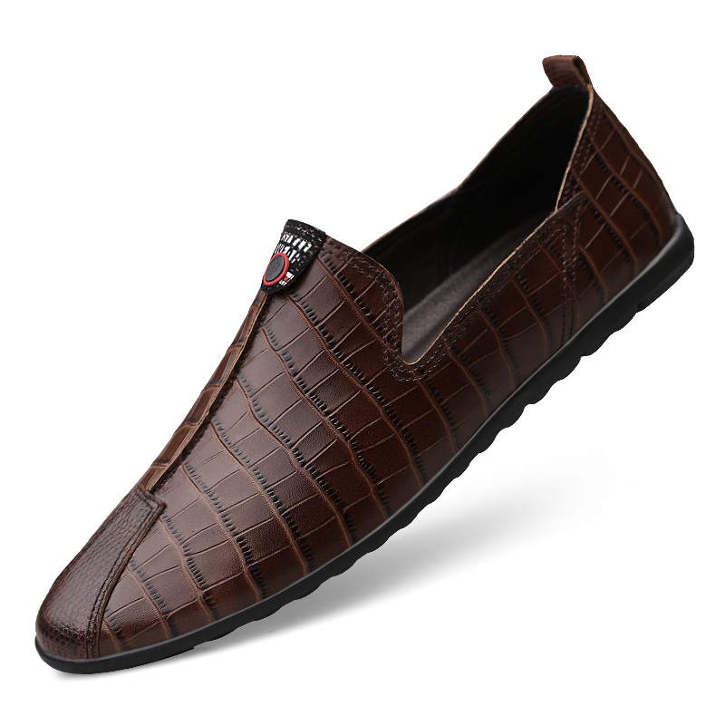 Mens Casual Genuine Leather Shoes Spring Summer Men Flat Walking Loafers Black Brown Man Luxury Slip On Boat Shoes C4