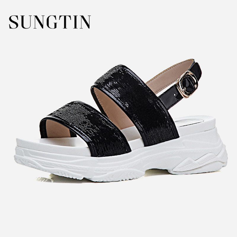 bb698481aa5 ... Patent Sandals Shoes Leather Girl Women Open Casual Buckle Slingbacks  Sneakers Toe Sandals Sungtin Strap Summer ...