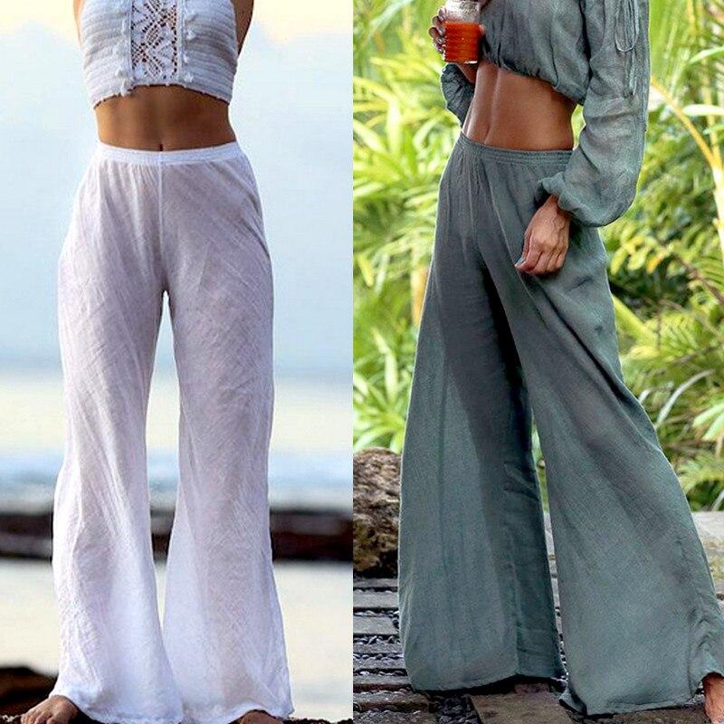 2019 Summer OverSize Womens   Wide     Leg     Pants   Solid Color Casual Linen Harem   Pants   Loose Long Trousers High Waist