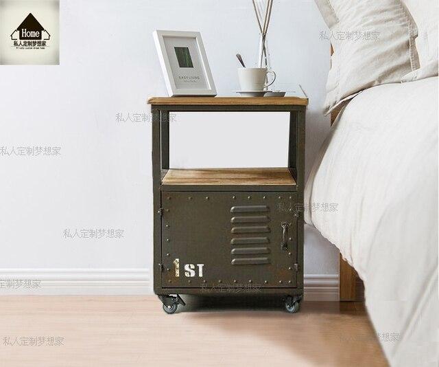amerikaanse hout slaapkamer nachtkastje katrol iron lades dressoir ikea kasten nachtkastje lockers telefoon tafel