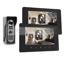 DIYSECUR 7 inch Pantalla de Vídeo de Intercomunicación Teléfono Video de La Puerta 800×480 INFRARROJOS de Visión Nocturna Al Aire Libre Cámara Negro 1v2