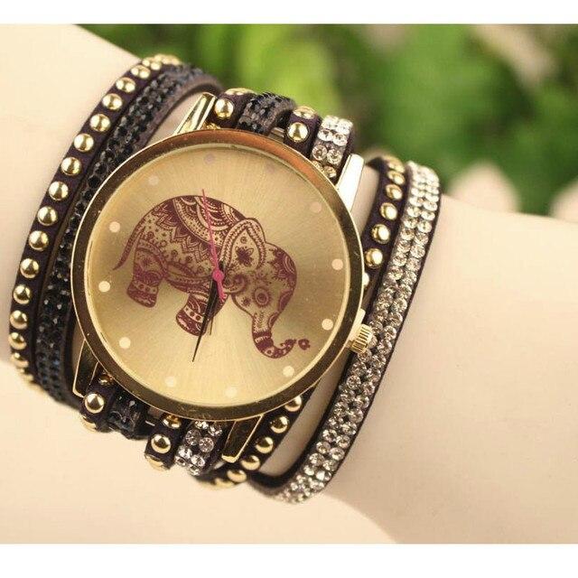 Fashion Bracelet Watch Clock Gift Woman Luxury Brand watches Elephant Watch Women Round Diamond Dress Jewelry Quartz Wrist Watch