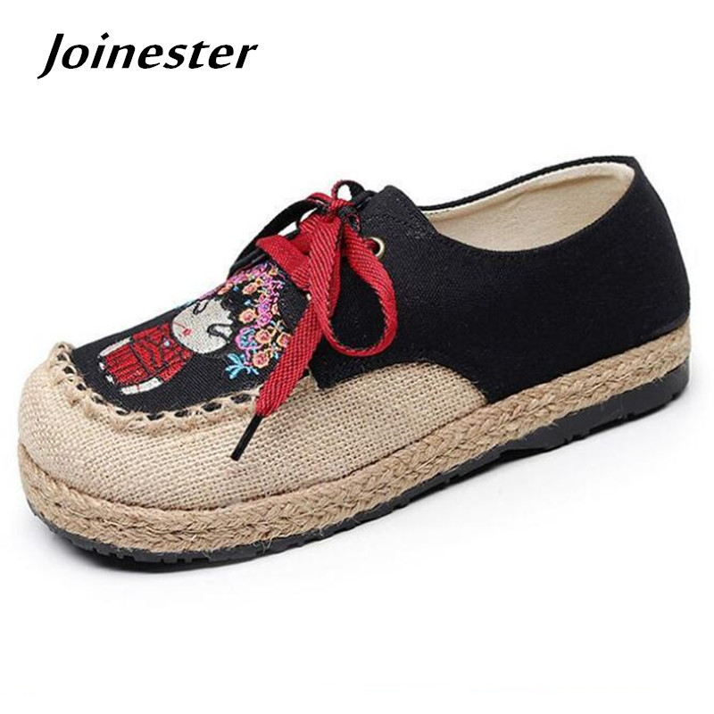 Cartoon Embroidery Hemp Toe Women's Lace-up Casual Shoes Flat Heel Rubber Sole Retro Canvas Breathable Flax Leisure Loafers 2017 patchwork lace up rubber sole canvas shoes breathable super leisure women casual shoes with flats student shoes rm 05