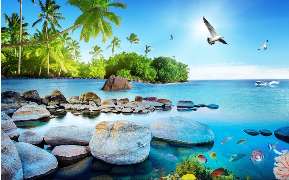 Us 1423 49 Offcustom Mural Photo 3d Wallpaper Sea View Island Tv Sofa Background Wall Painting 3d Wall Murals Wallpaper For Walls 3 D In