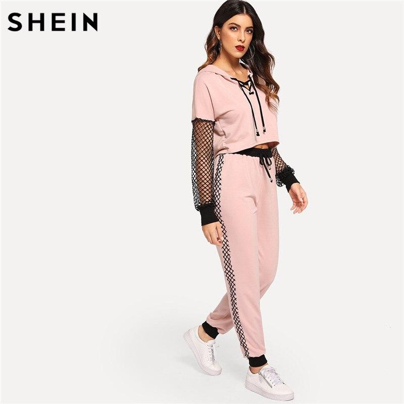 936a0c821d66 رخيصة SHEIN الوردي شبكة صيد السمك كم الدانتيل يصل هوديي Sweatpants الرياضية  عارضة اثنين من قطعة