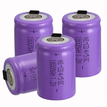 new arrival 4 PCS Ni-Cd 4/5 SubC Sub C battery Rechargeable Battery 1.2V 1800mAh with purple Tab 3.3cm x 2.2cm image