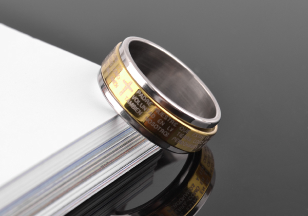free shipping wholesale 316L Stainless Steel finger rings gold color wedding bands Bible jewelry size us 7
