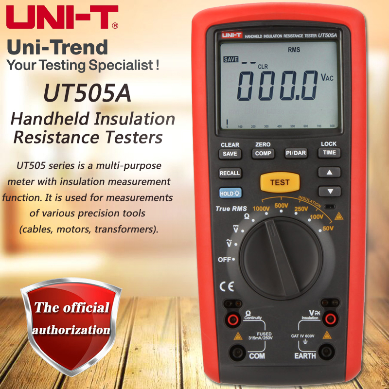 UNI-T UT505A Handheld Insulation Resistance Tester True RMS Insulation Resistance Multimeter 1000V Megohmmeter LCD Backlight snowmen
