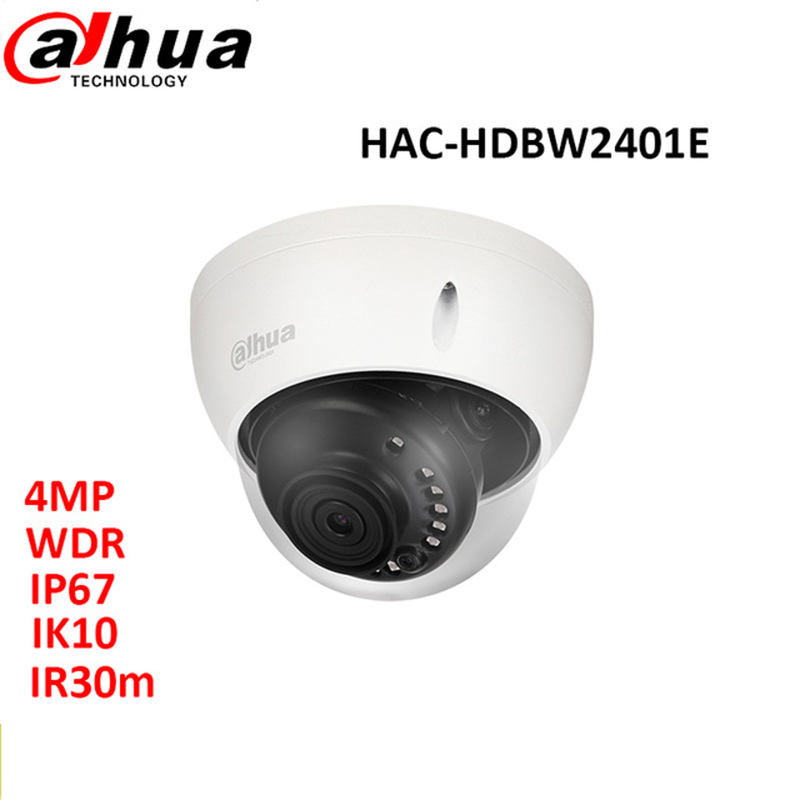 Dahua HDCVI 4MP WDR Dome Camera HAC-HDBW2401E lens3.6mm IR 30m waterproof IP67 IK10 CCTV security mini camera dahua 4mp wdr hdcvi bullet camera hac hfw2401e lens3 6mm max ir40m waterproof ip67 cctv security camera