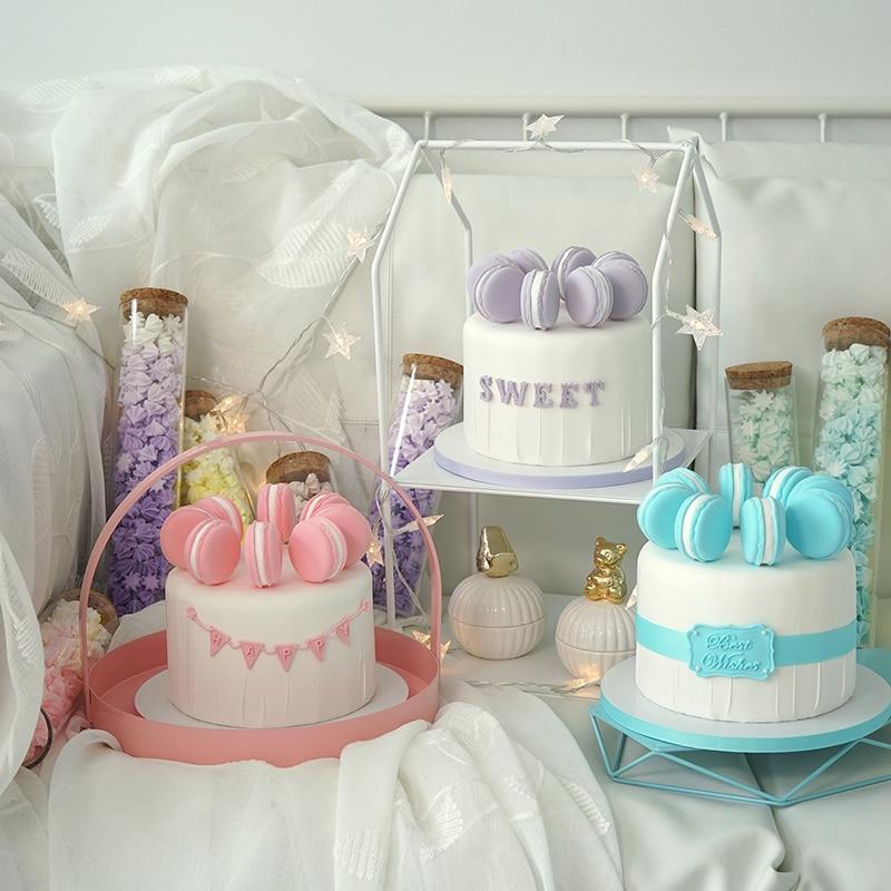 SWEETOGO Artificielle macaron gâteau simulation des modèles d'argile bleu/rose/Pourpre de décoration de gâteau pour magasin vitrine photographie props
