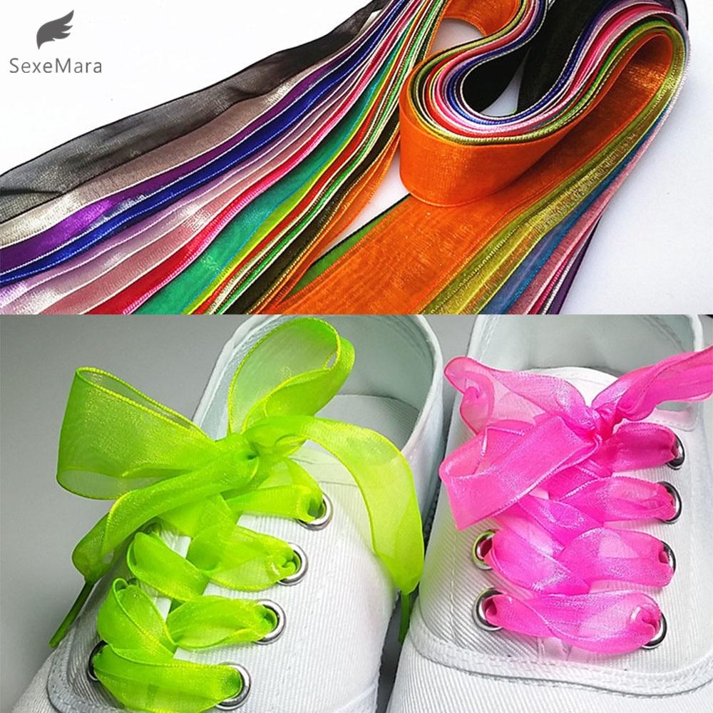 Gootrades Fashion 2.5cm Wide Flat Shoelaces Voile Ribbon Shoe Laces Sneaker Sport Shoes Fantastic
