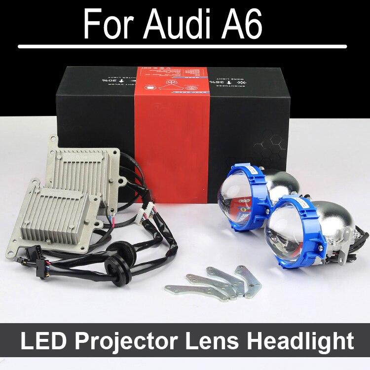 Mükemmel Bi-xenon araba halojen ile Audi A6 Için LED Projektör lens far Montaj far SADECE Güçlendirme Yükseltme (1998-2011)