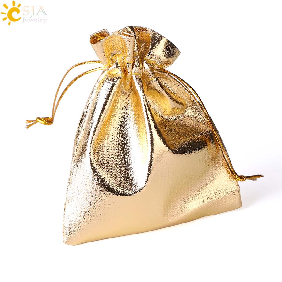 CSJA 10Pcs Golden & Silver Color Gauze Bag Organza Bag Wedding Party Jewelry Favor Packaging Pouch Biscuit Candy Gifts Bags F477