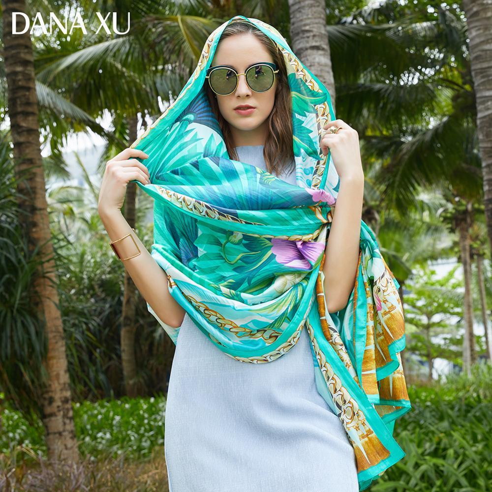 2019 Silk Long Scarf Luxury Brand Women New Design Beach Blanket Shawl Wear Swimwear Bandana Hijab Face Shield Foulard 245*110cm