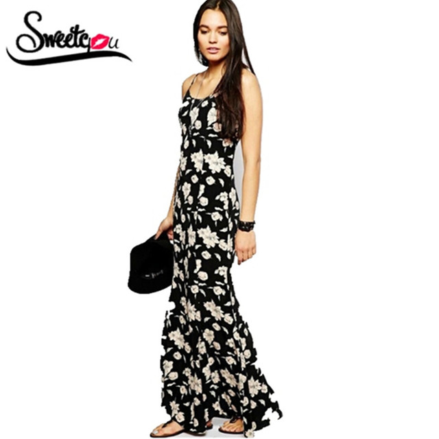 Sweetyou 2017 Hot Sale Maxi Long Dress Beach Party Dresses Straps Vestidos  Casual Tropical Flower Print Sexy Women Summer Dress 25b485582