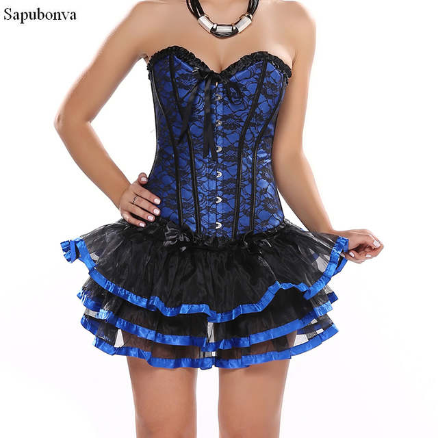 17e2bfd311b Sexy Overbust Corset And Bustier Lace Women Casual Dress Plus Size Push Up  Gothic Corset Dress With Tutu Skirt Plus size
