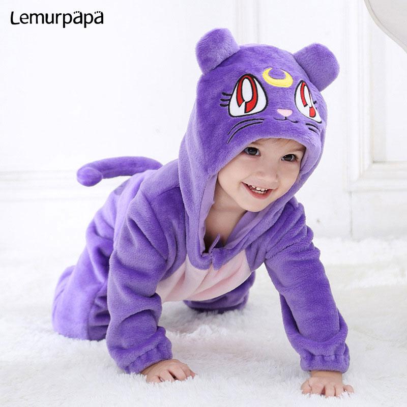 Image 3 - Purple Cat Onesie Infant Baby Romper Winter Clothes Ziper Hooded Flannel Cozy Kigurumis Animal Costume Little Boy Girl Play SuitRompers   -