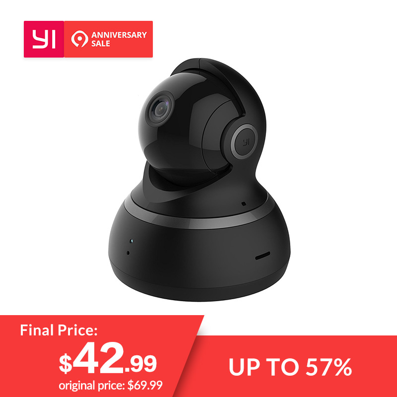 YI Dome Kamera 1080 P Pan/Tilt/Zoom Wireless IP Security Surveillance System Komplette 360 Grad Abdeckung Nacht vision Schwarz