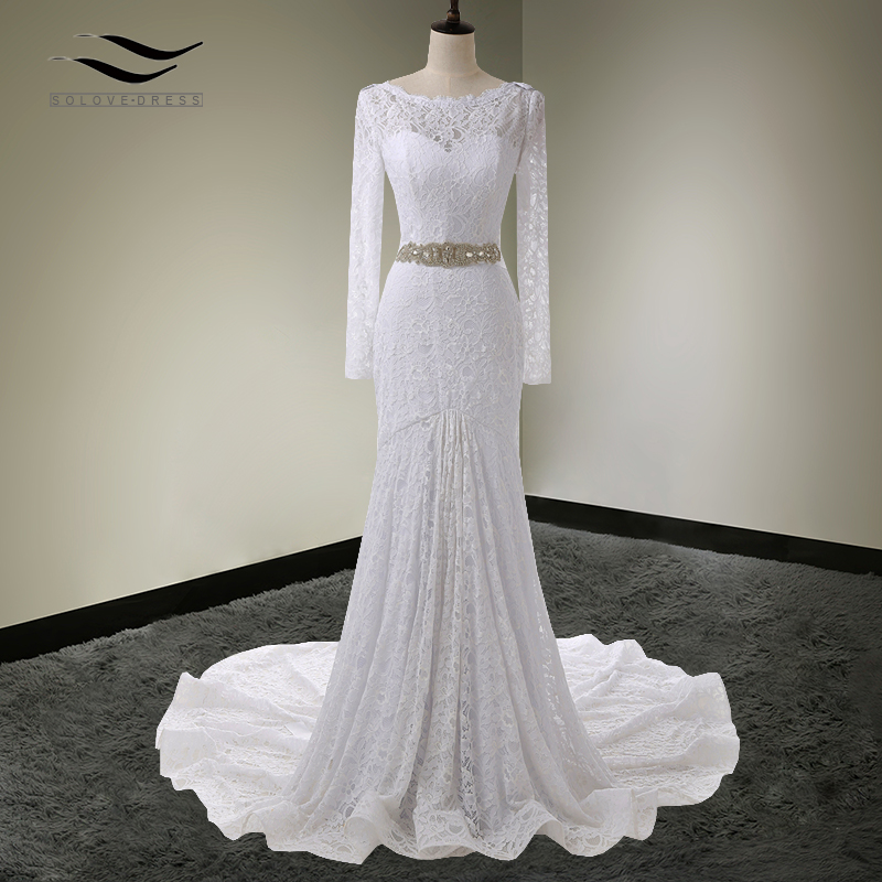 Solovedress Elegant Scoop Neck Mermaid Lace Long Sleeves Wedding Dress 2017 Royal Train Bridal Gown Vestido De Noiva SLW20022