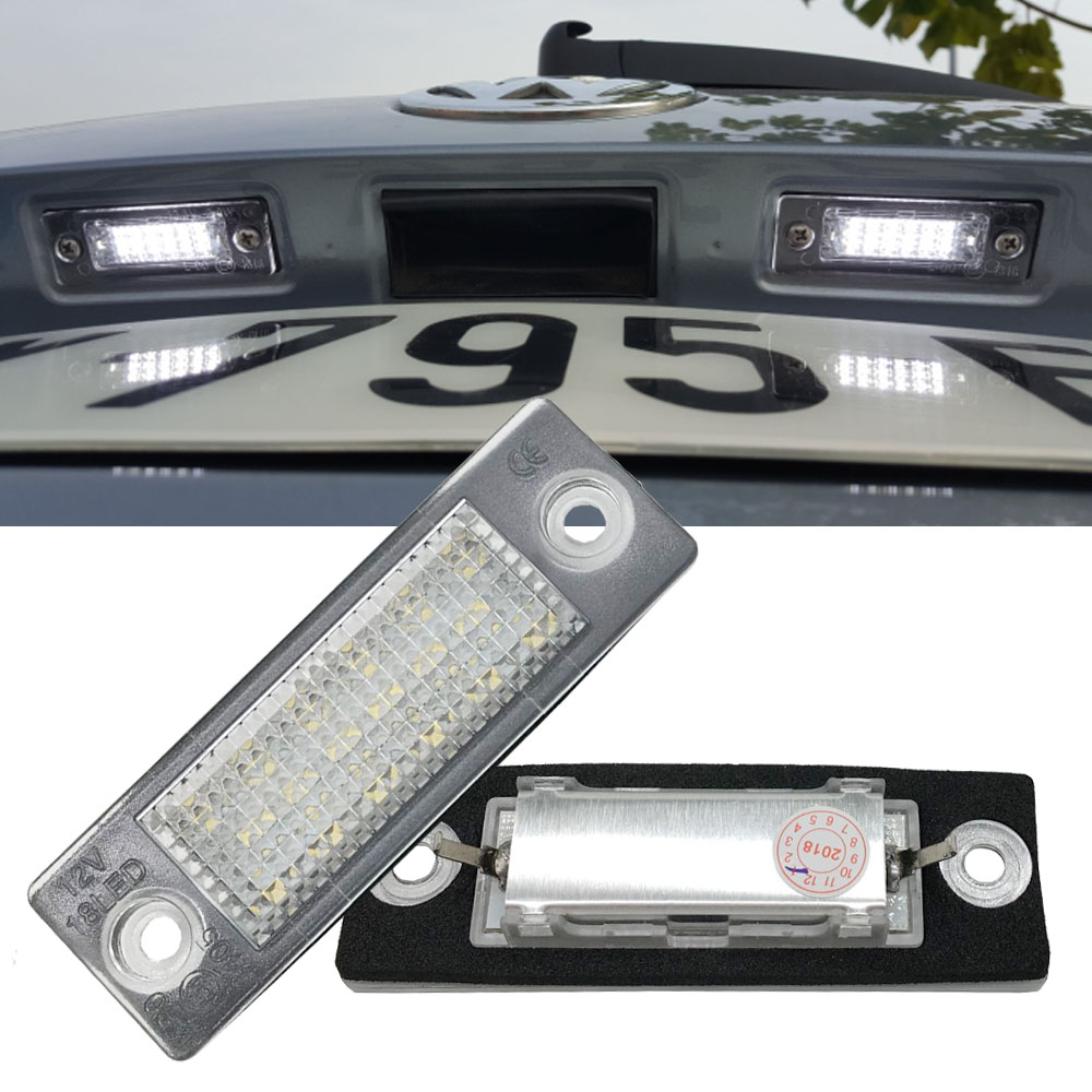 2Pc Car 18 LED Number License Plate Light Lamp No Error For VW Touran Passat Cimousint B5.5 SKODA Superb 1 3U B5 Car Accessories direct fit for kia sportage 11 15 led number license plate light lamps 18 smd high quality canbus no error car lights lamp page 5