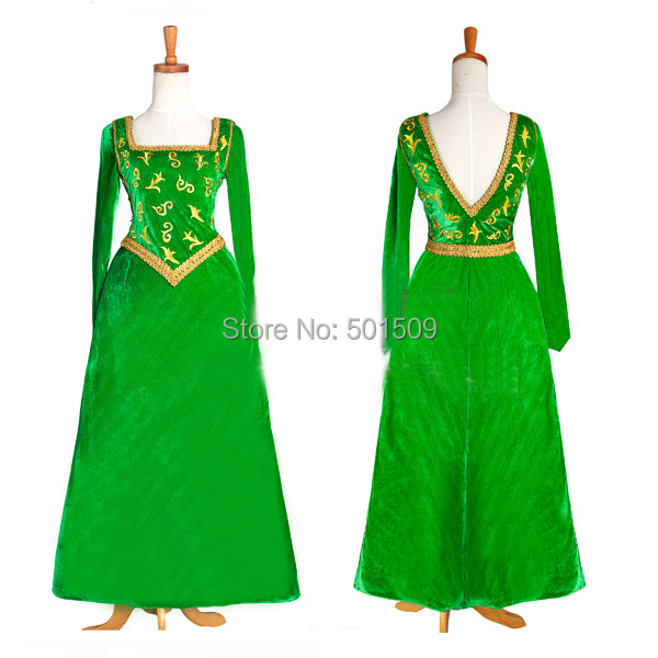 Princess fiona cosplay costume green medieval dress embroidey Gown costume Victorian /Marie Belle Ball