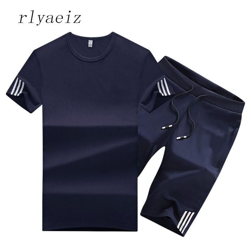 Rlyaeiz Oversized 6XL Casual Sporting Suit Men 2018 Summer Thin Set Men Tracksuit Striped T Shirts + Shorts Sets Male Sweat Suit