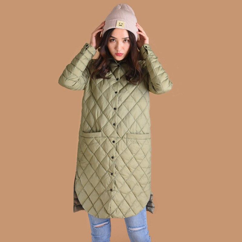 UK 2019 Women Autumn Winter Oversized Light Thin Long Warm Parka 90% White Duck Argyle Down Coat And Jacket Mint Female Outwear
