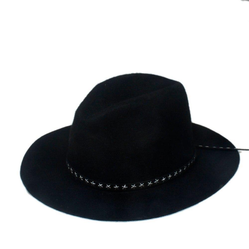 a9f40b1b728 6PCS Lot New Fashion Women Men 100% wool Fedora hat Felt Panama female  Elegant Ladies hat Floppy Derby Trilby Cap Wholesale