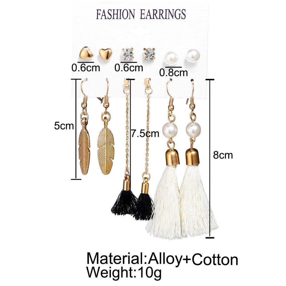 2019 Fashion Best Selling 9 Style 6 Pair Set Tassel Earrings Imitation Pearl Heart Moon Crystal Brincos For Women Jewelry Gift in Drop Earrings from Jewelry Accessories