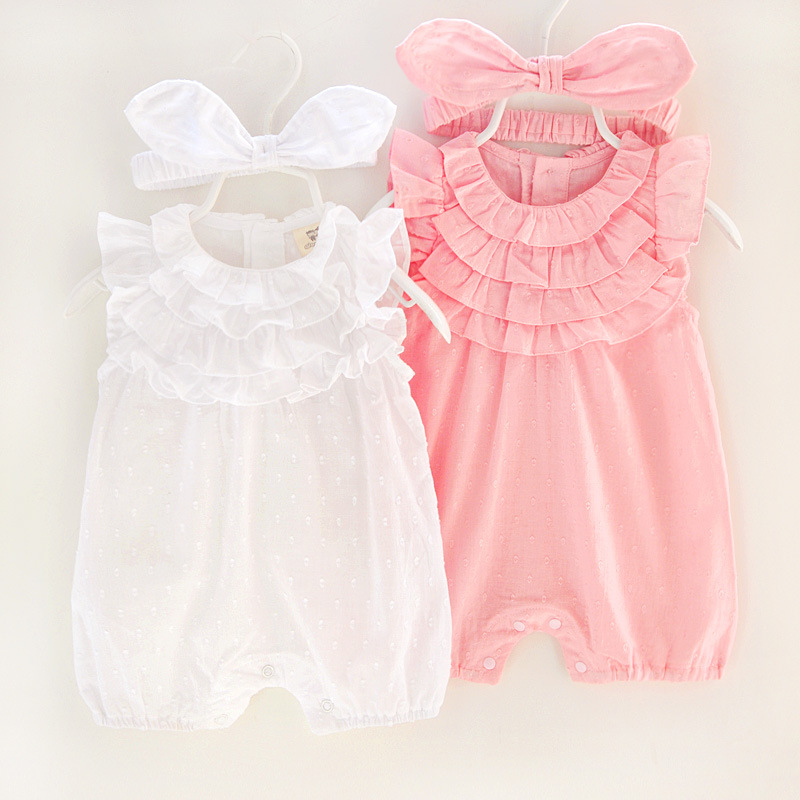 цены 2018 Summer Baby Girl Rompers Lace cotton Jumpsuit Floral Baby Clothing Princess Toddler Romper Newborn Baby Clothes Headband