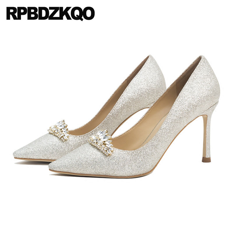 Rhinestone Diamond Stiletto Ladies 2018 Glitter High Heels Pointed Toe 3 Inch Crystal Pumps Silver Bling Wedding Shoes Size 4 34 4 34 small size gold shoes wedding pointed toe 7cm 3 inch satin high heels stiletto 33 flower pumps ladies colourful embroidery