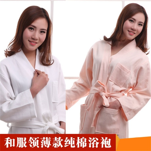 957a8549e5 Luxury Hotel Bathrobes Waffle cotton thin section of men and Ms. couple  nightgown absorbent cotton