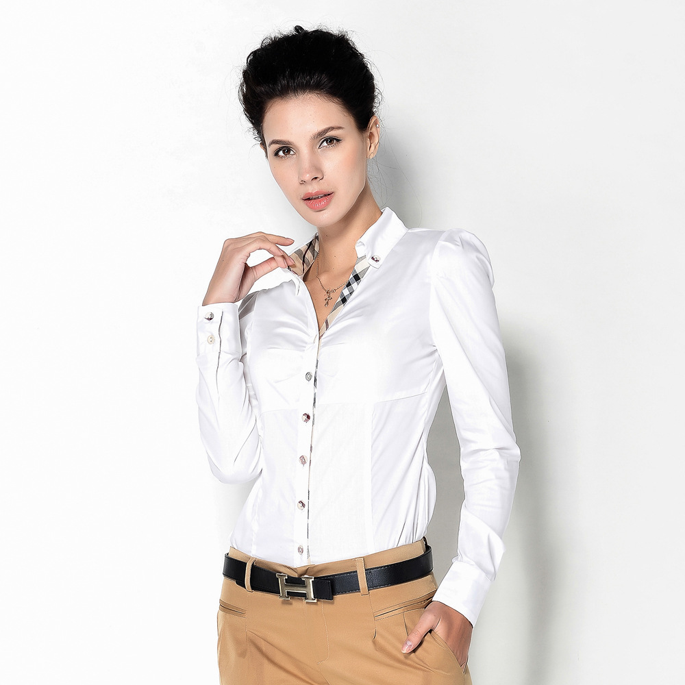 Plus Size Women Clothing Women Blouses Placket Plaid Placket Plaid Stitching V neck Slim Professional Women
