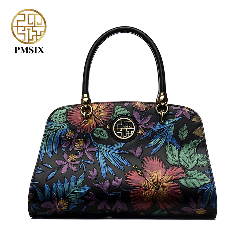 PMSIX Autumn Winter Designer Mewah Split Leather Women Handbags Embossed Flower Vintage Ladies Shoulder Bag Female Tote P110024