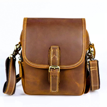 QIUSIC First layer of mad horse leather leather retro men tide cool phone camera vintage brown leg bag purse  Waist pack 860011