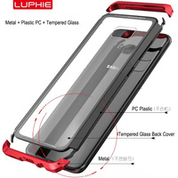 LUPHIE For Samsung Galaxy S8 Case Luxury Aluminum Metal Transparent Glass Back Cover PC Bumper Case
