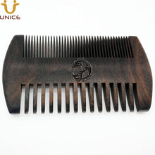50pcs/lot Good Quality Private Label Laser Carved Your LOGO Customized Black Wood Combs 2 Sided Ebony Blackwood Hair Beard Comb